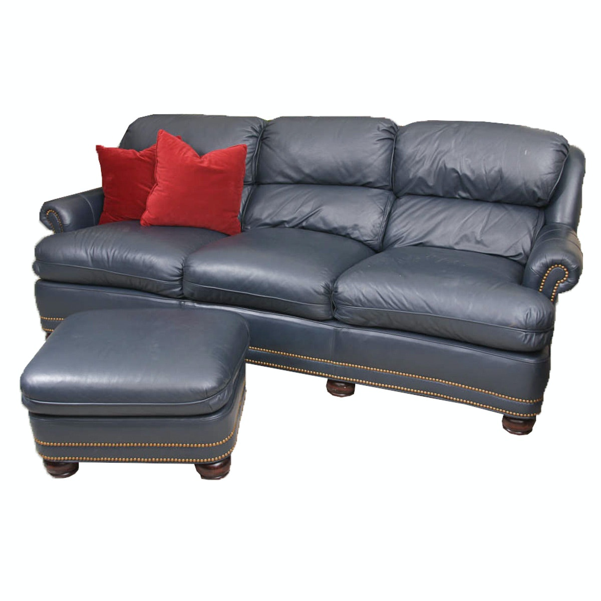 Hancock & Moore Leather Sofa and Ottoman