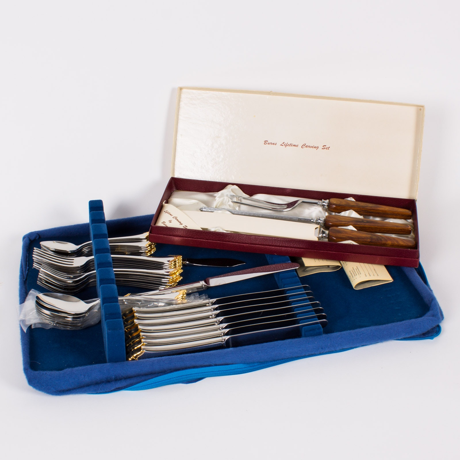 "Community by Oneida ""Golden Kenwood"" Stainless Steel Flatware With Burns Lifetime Carving Set"