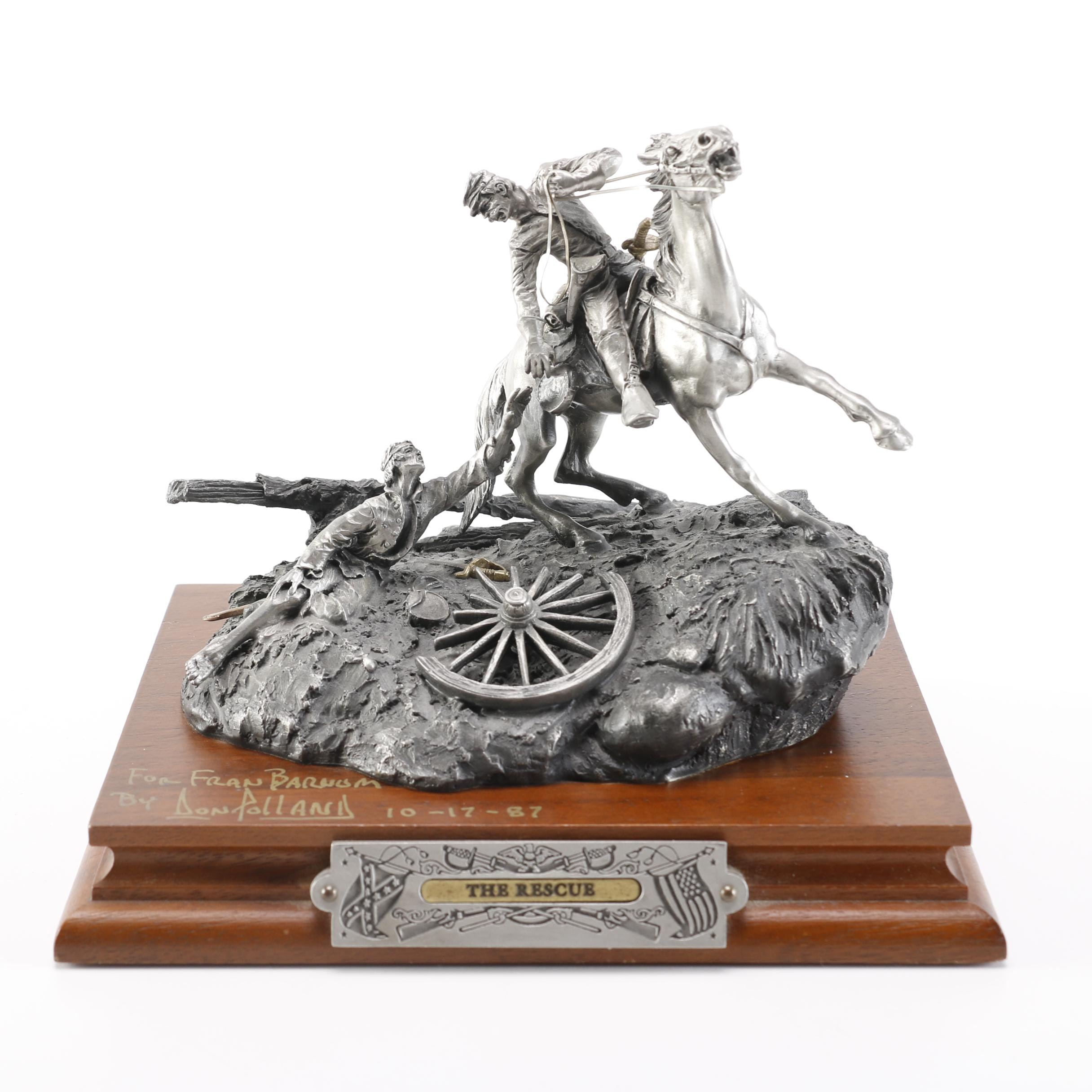 """1987 """"The Rescue"""" Signed Don Polland Pewter Sculpture"""