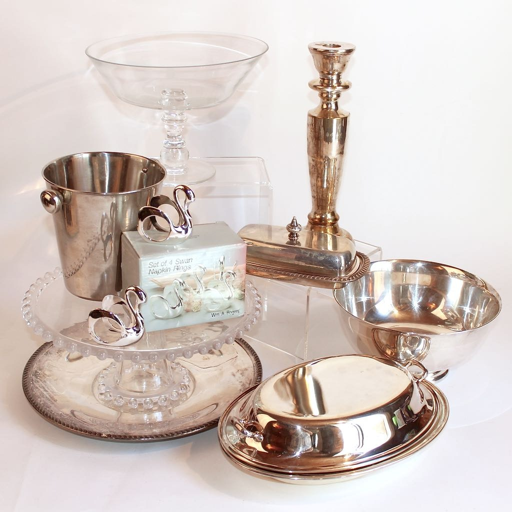 Silver Plate and Glass Serving Ware Collection