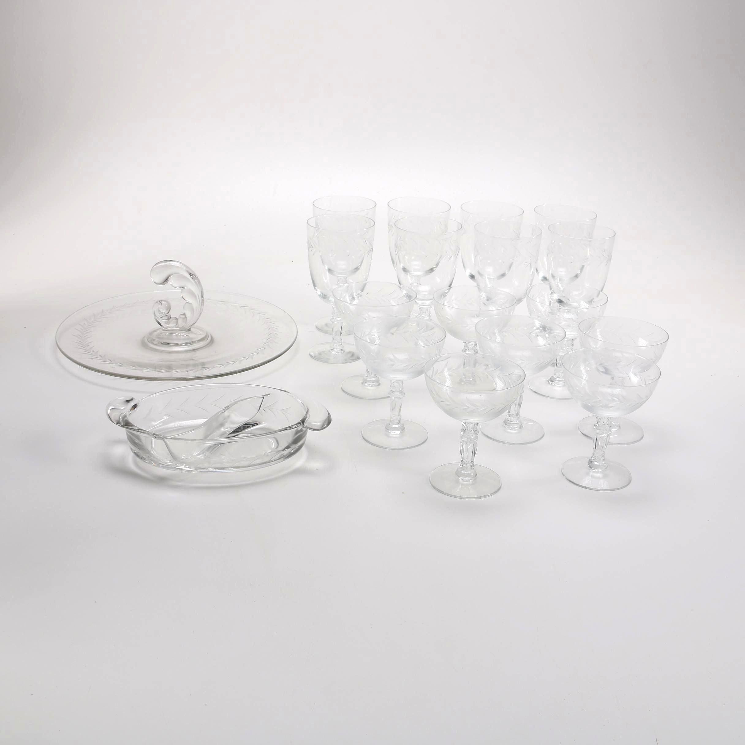 Etched Glassware Serving Set