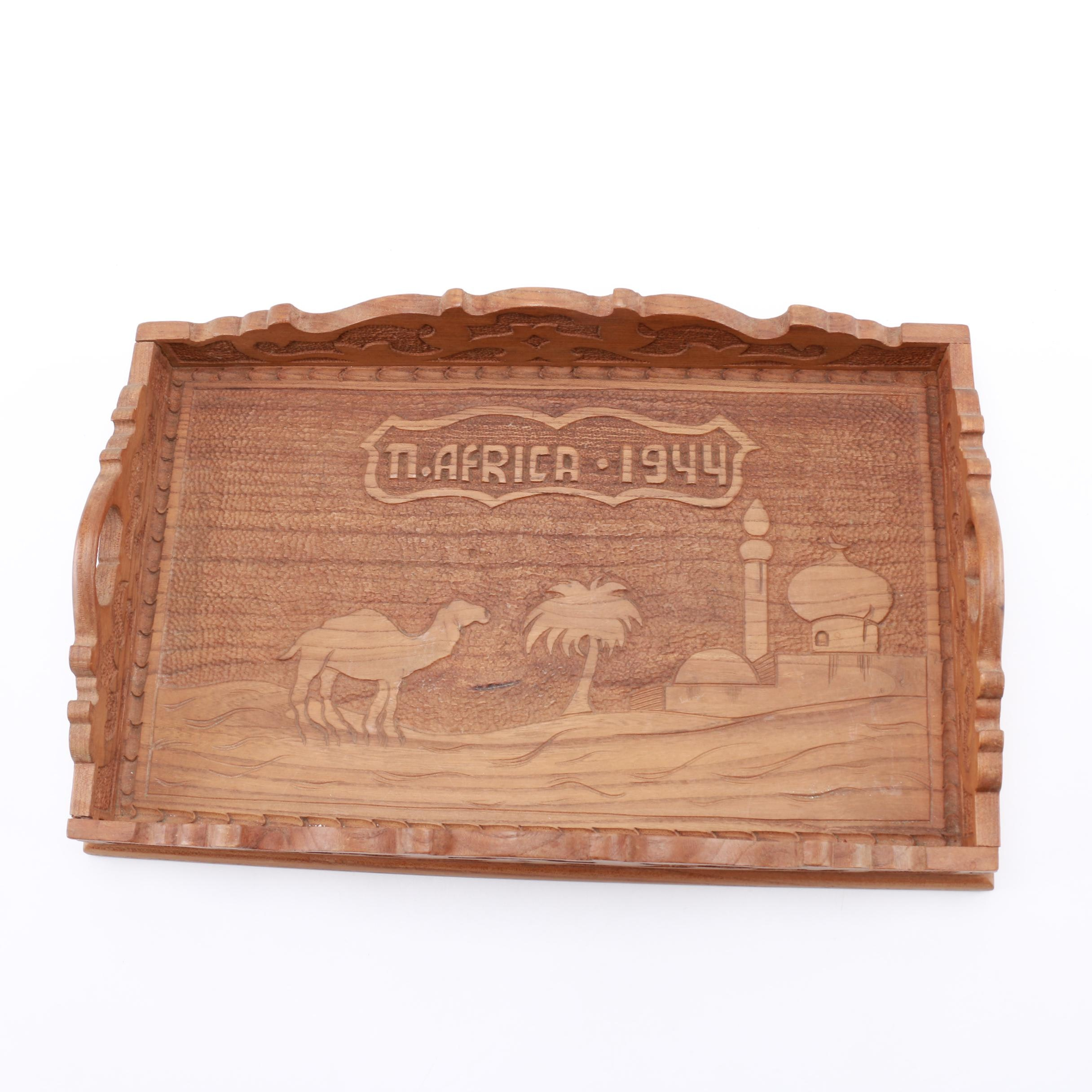 Carved Wooden North African Motif Tray
