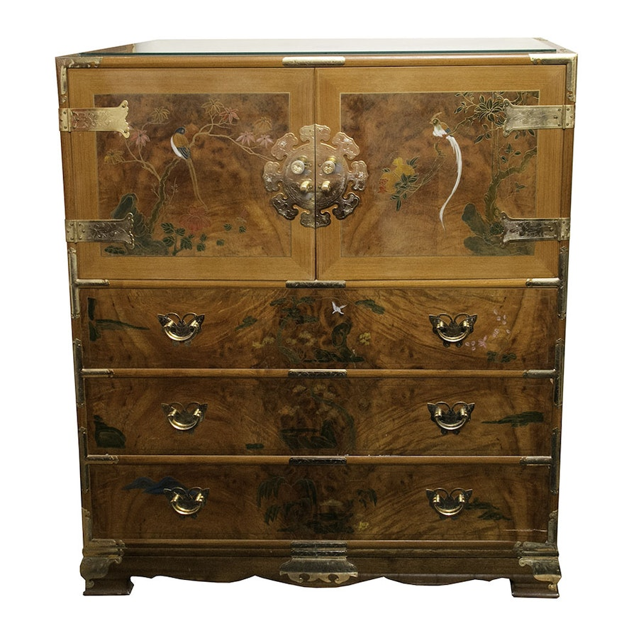 Hand painted chinoiserie chest ebth for Hand painted chests