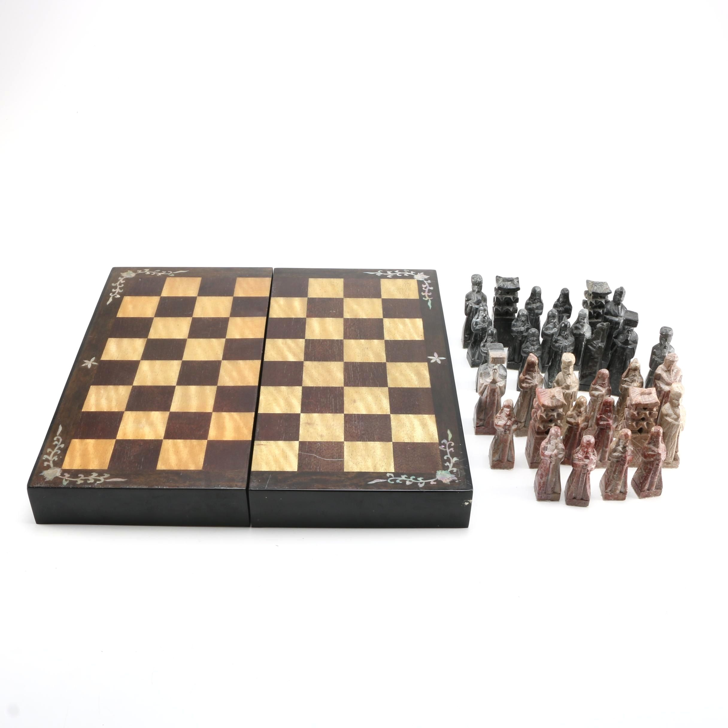 Korean Wood and Soapstone Chess Set