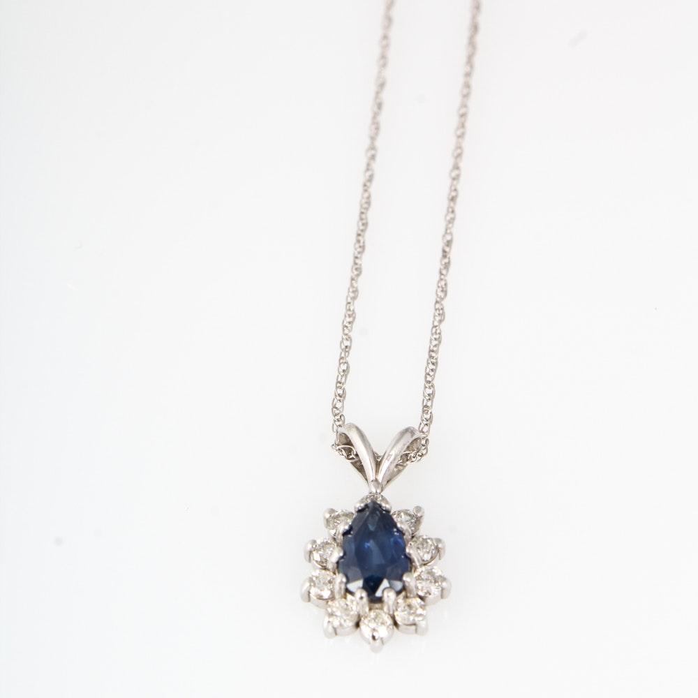 14K White Gold Natural Sapphire 0.40 CTW Diamond Pendant Necklace