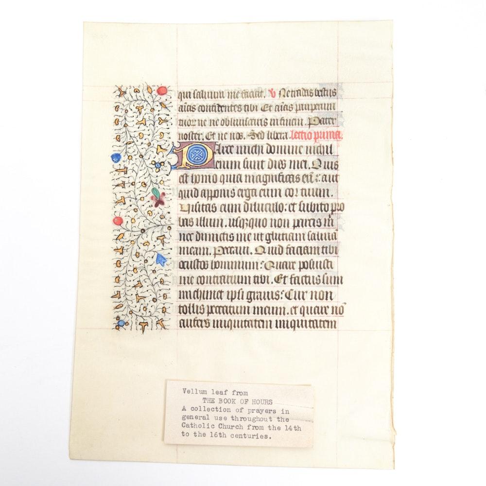 Antique Illuminated Book of Hours Manuscript Leaf on Vellum