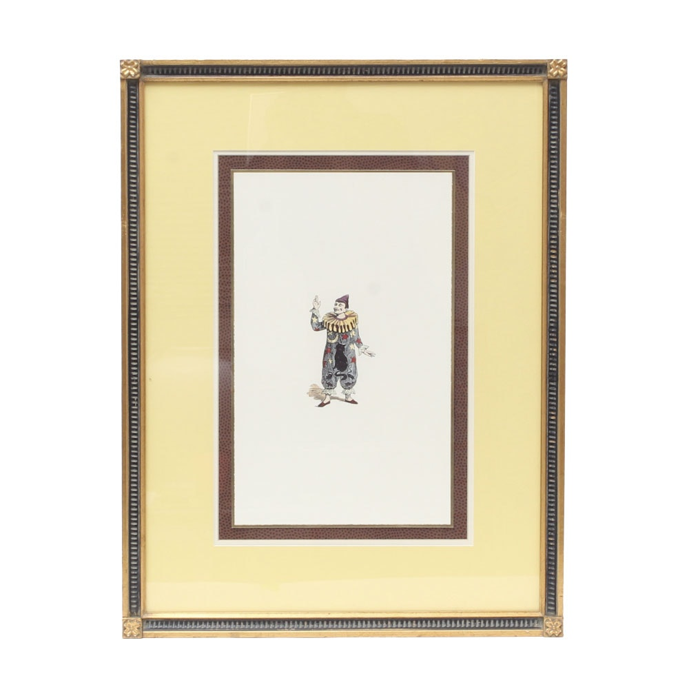 Framed Offset Lithograph of Circus Clown