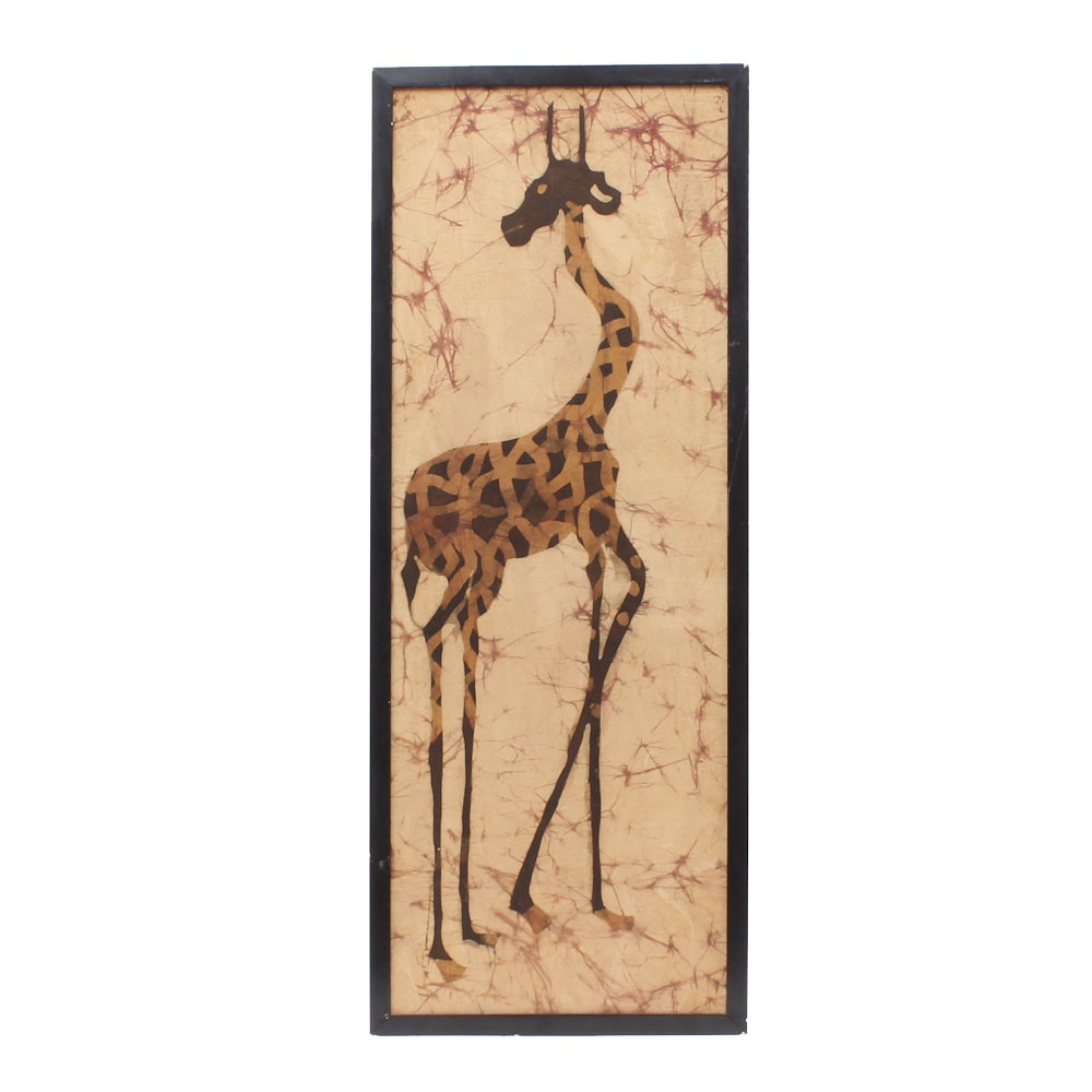 Framed Offset Lithograph of a Giraffe
