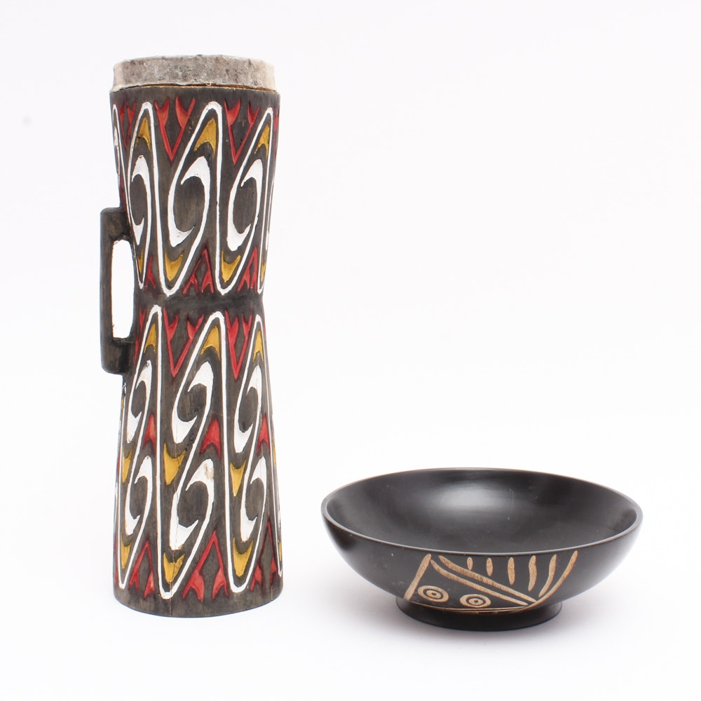 Carved Wooden Bowl and Talking Drum