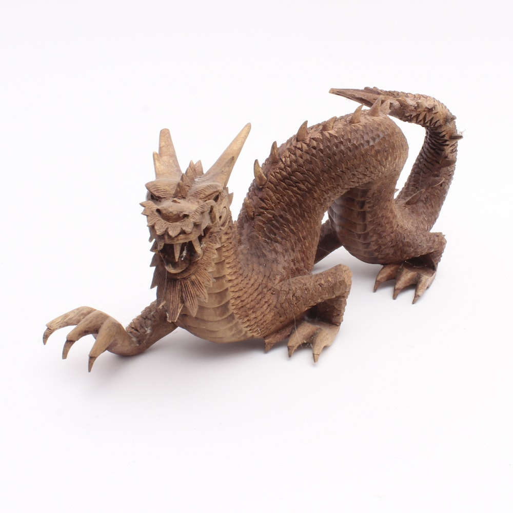 Hand Carved Wooden Dragon Sculpture
