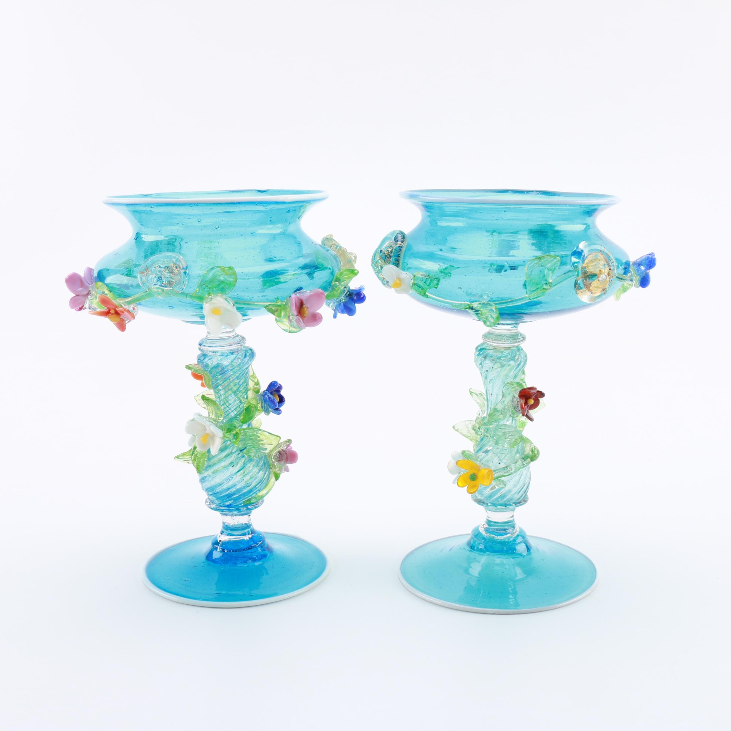 Hand Blown Blue Art Glass Pedestal Bowls With Applied Flowers