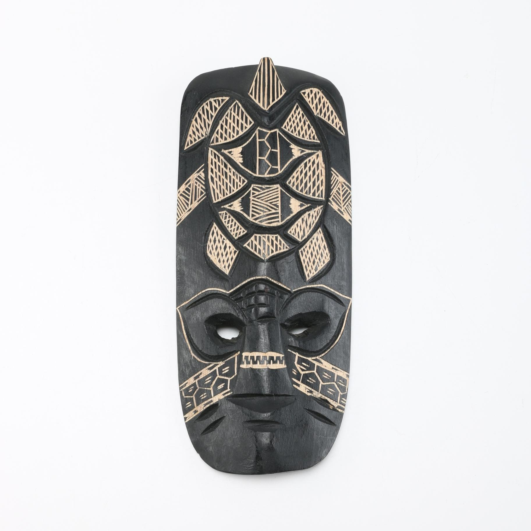 Micronesian Inspired Carved Wooden Mask