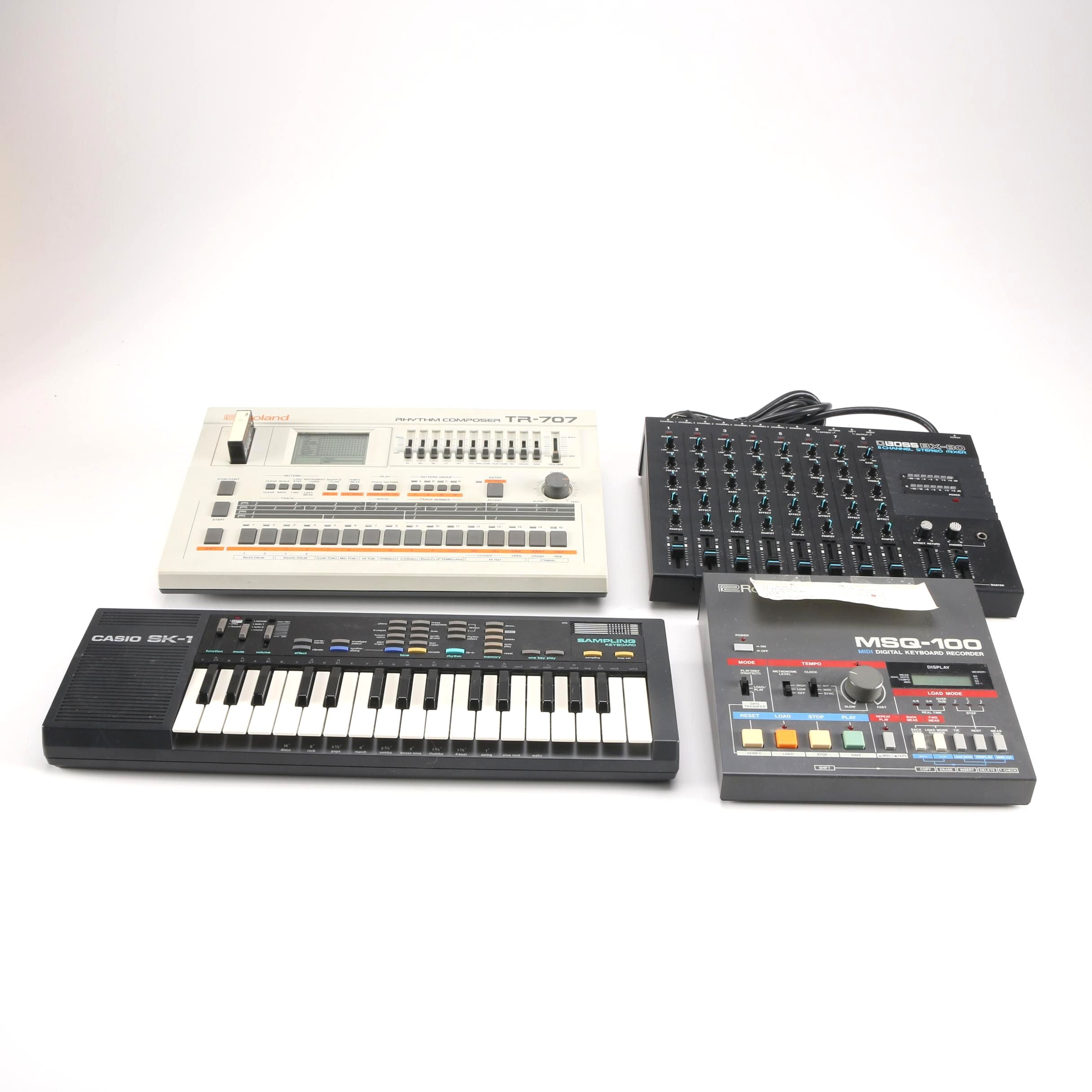 Roland Drum Machine and MIDI Recorder, Boss Mixer, Casio Keyboard