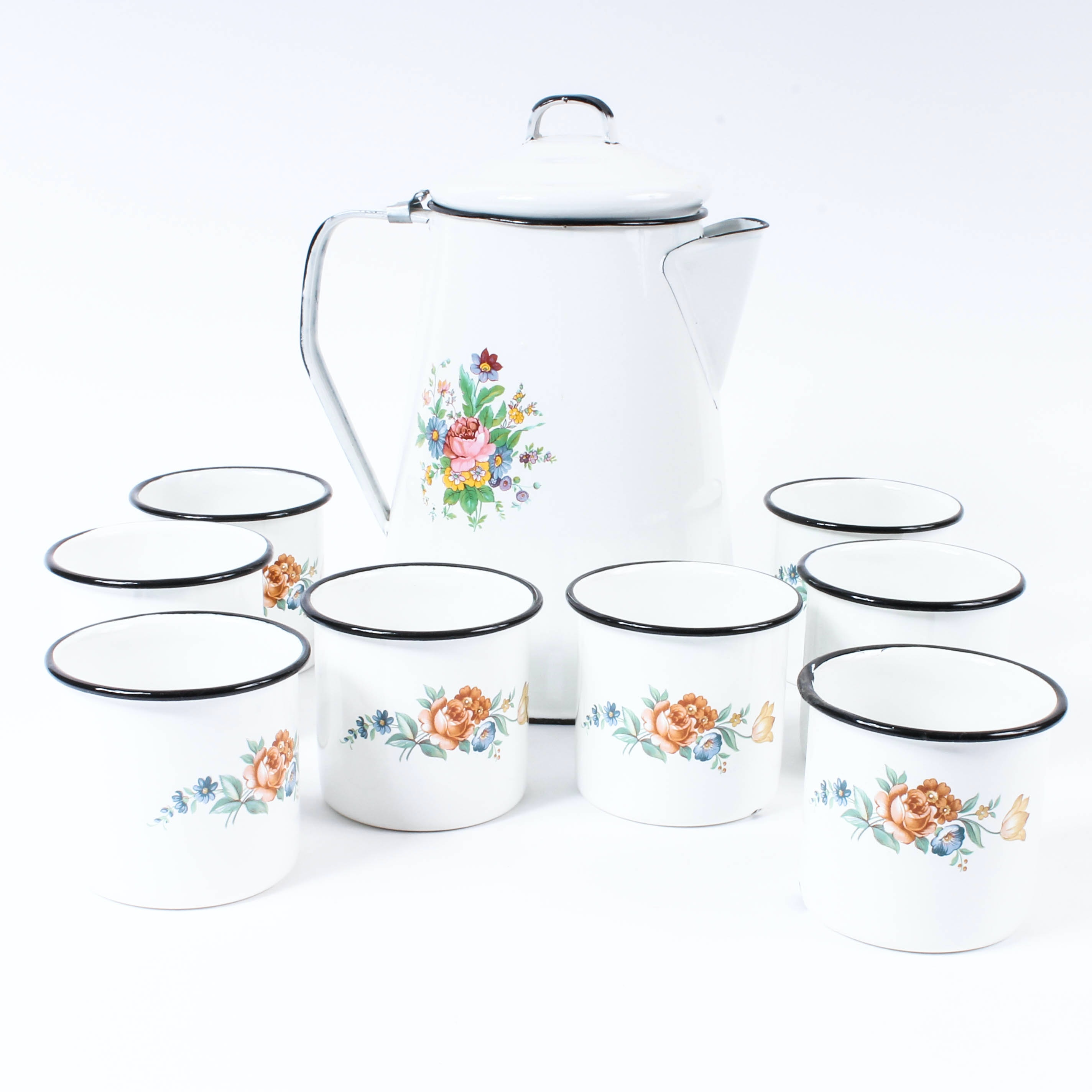Enameled Coffee Set