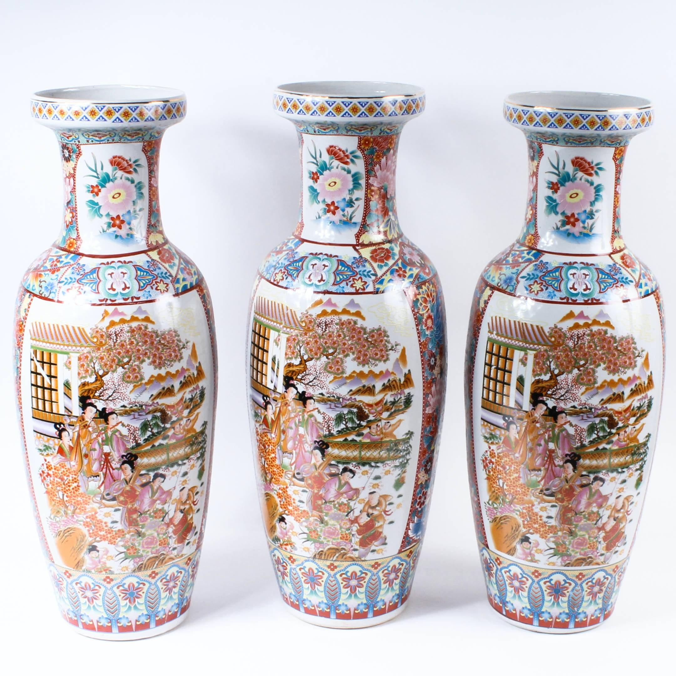 Three Chinese Satsuma Style Vases