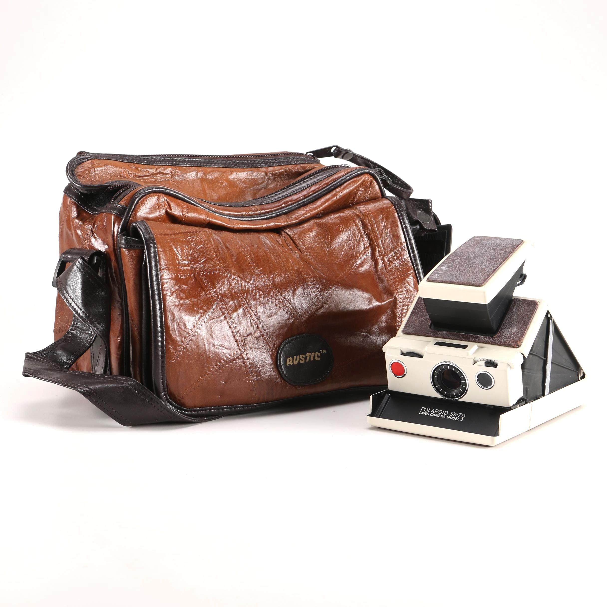 Vintage Polaroid SX-70 Land Camera and Rustic Carrying Case