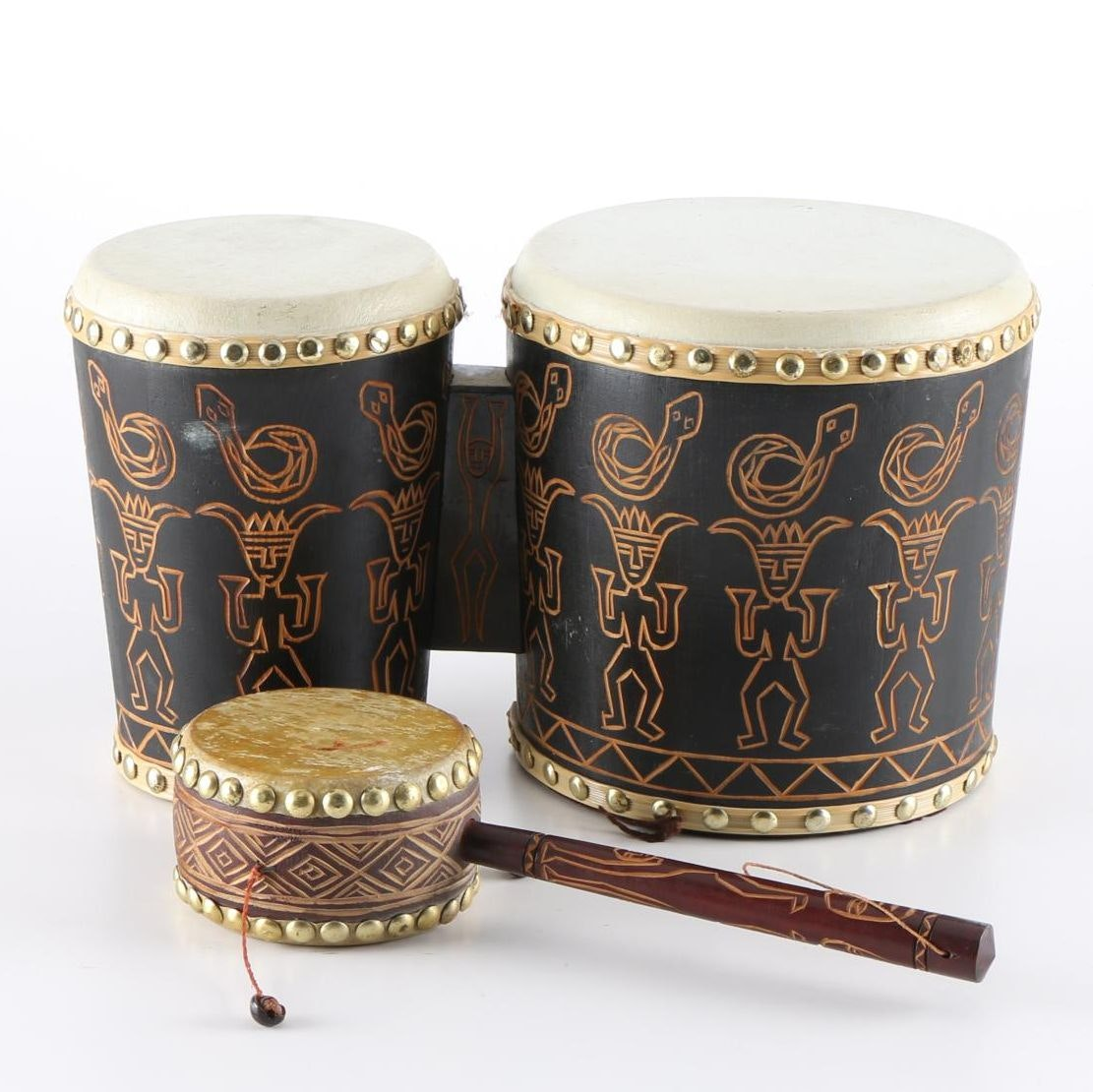 African-Inspired Bongos and Hand-Carved Monkey Drum