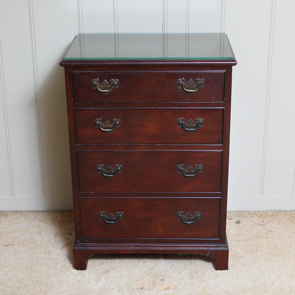 Diminutive Mahogany Four Drawer Chest Nightstand