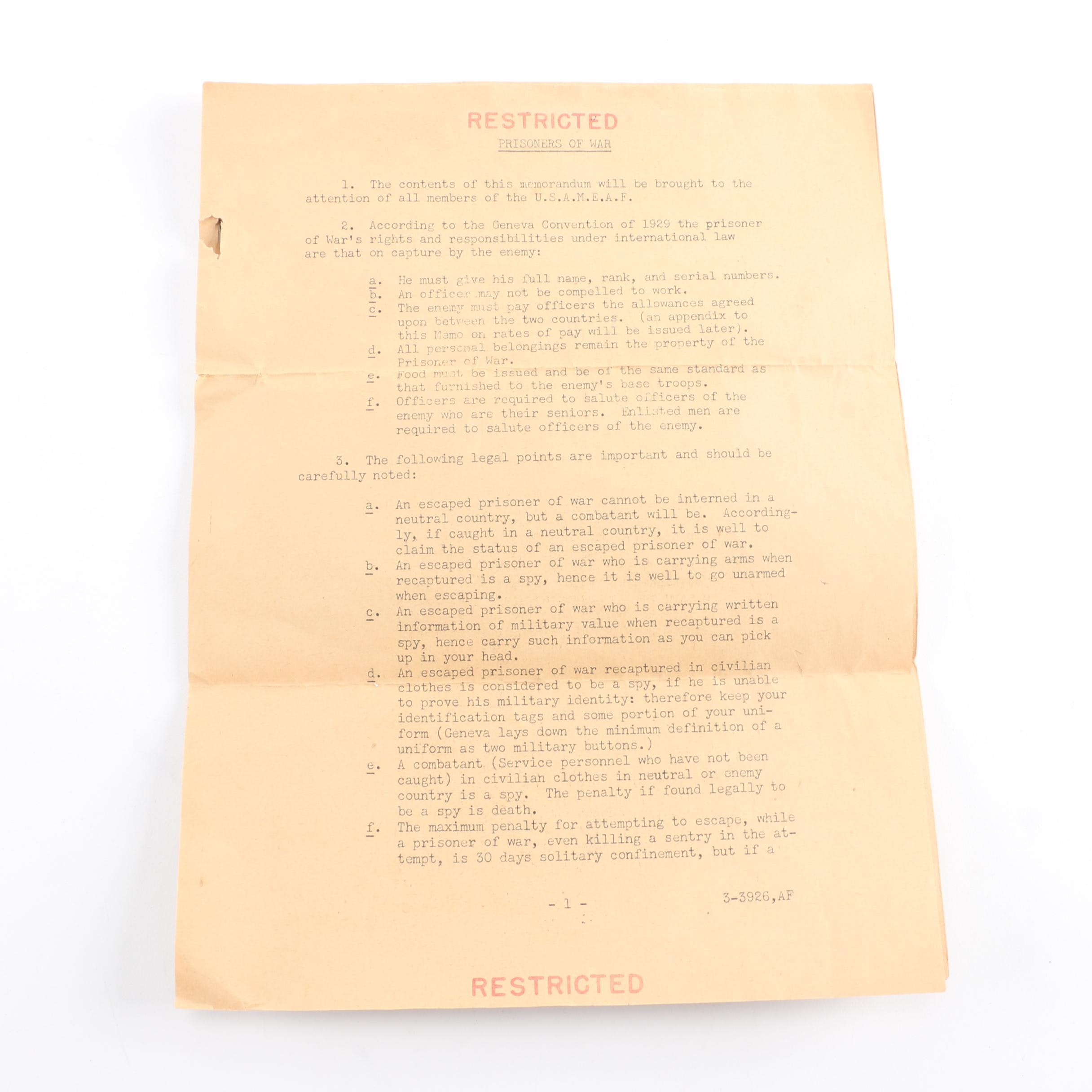 World War II Code of Conduct Papers