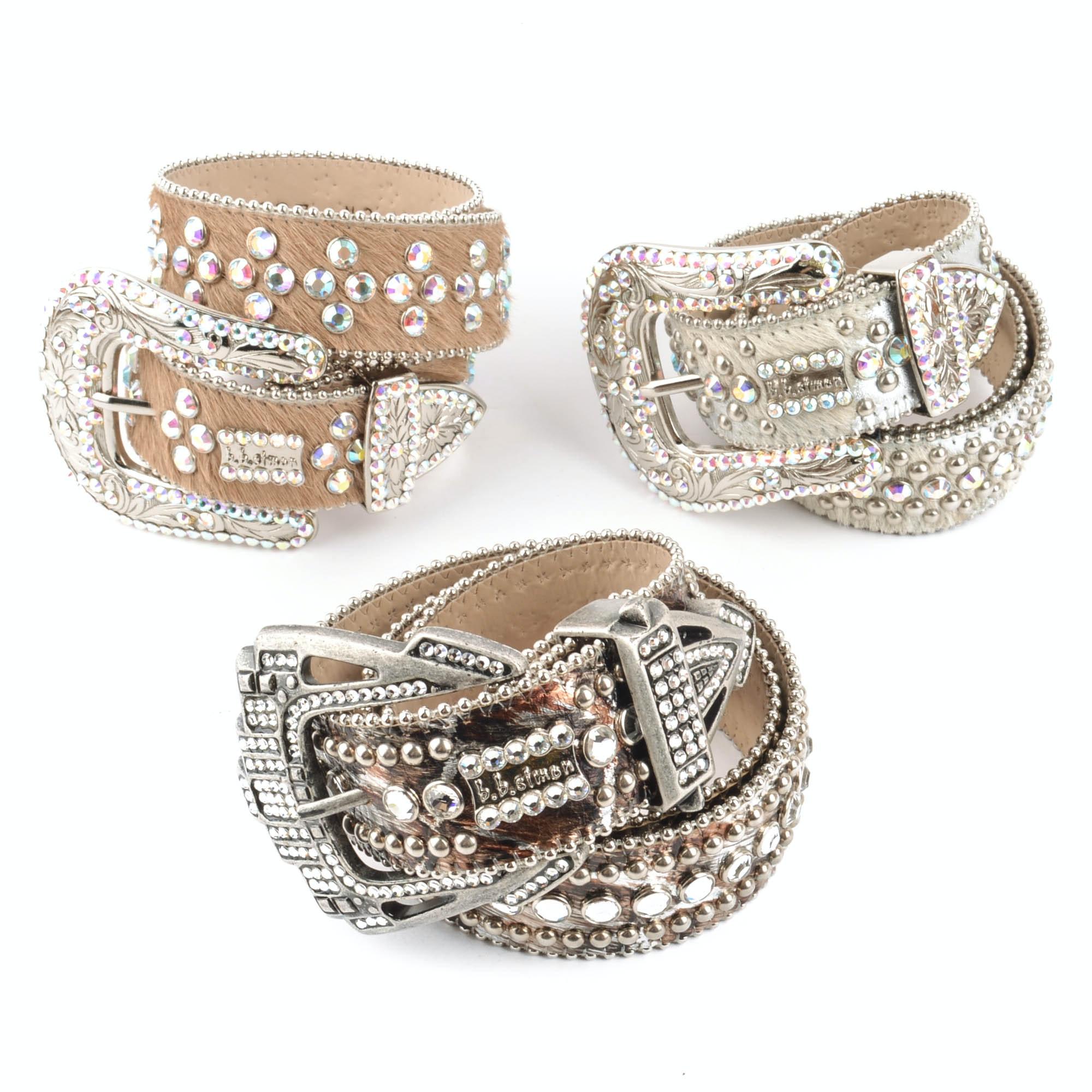 Three B.B. Simon Women's Belts with Swarovski Crystals