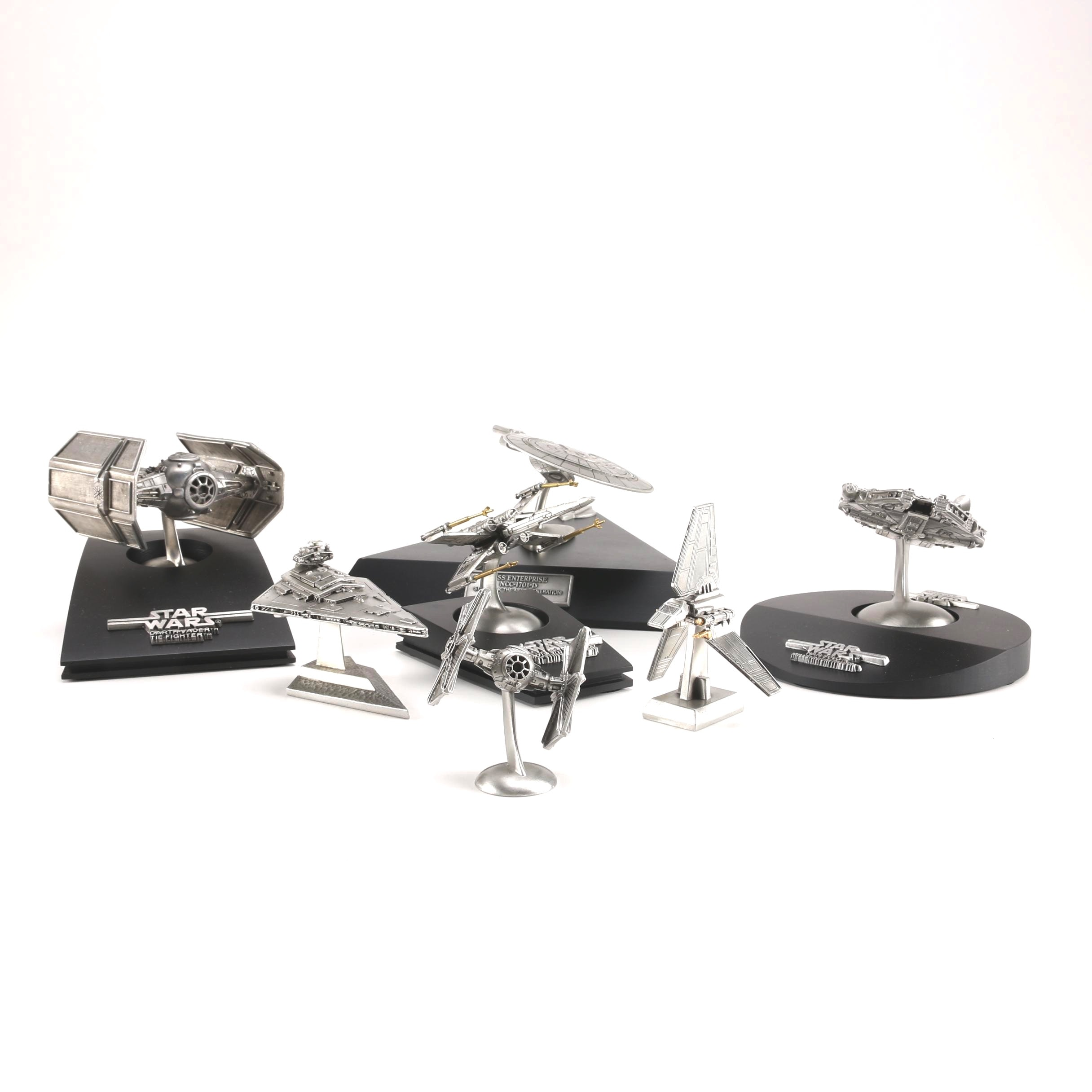 """Star Wars"" and ""Enterprise-D"" Pewter Model Ships"