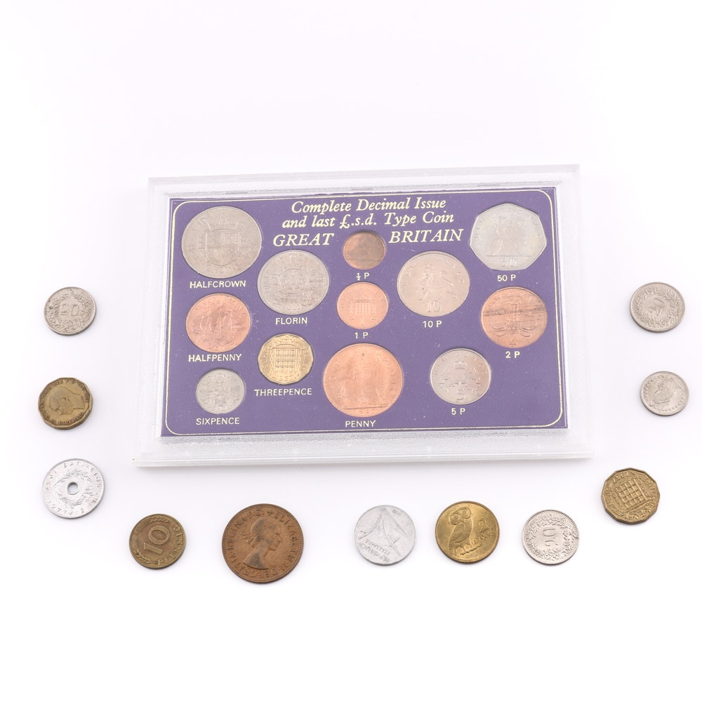 Type Coin Set from Great Britain and Other Foreign Coins