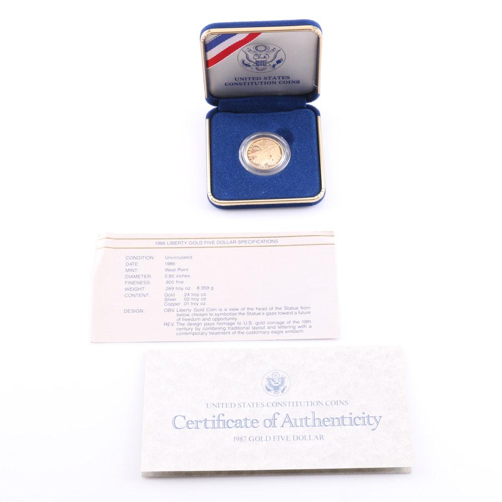 1987 U.S. Constitution Commemorative Five Dollar Gold Coin
