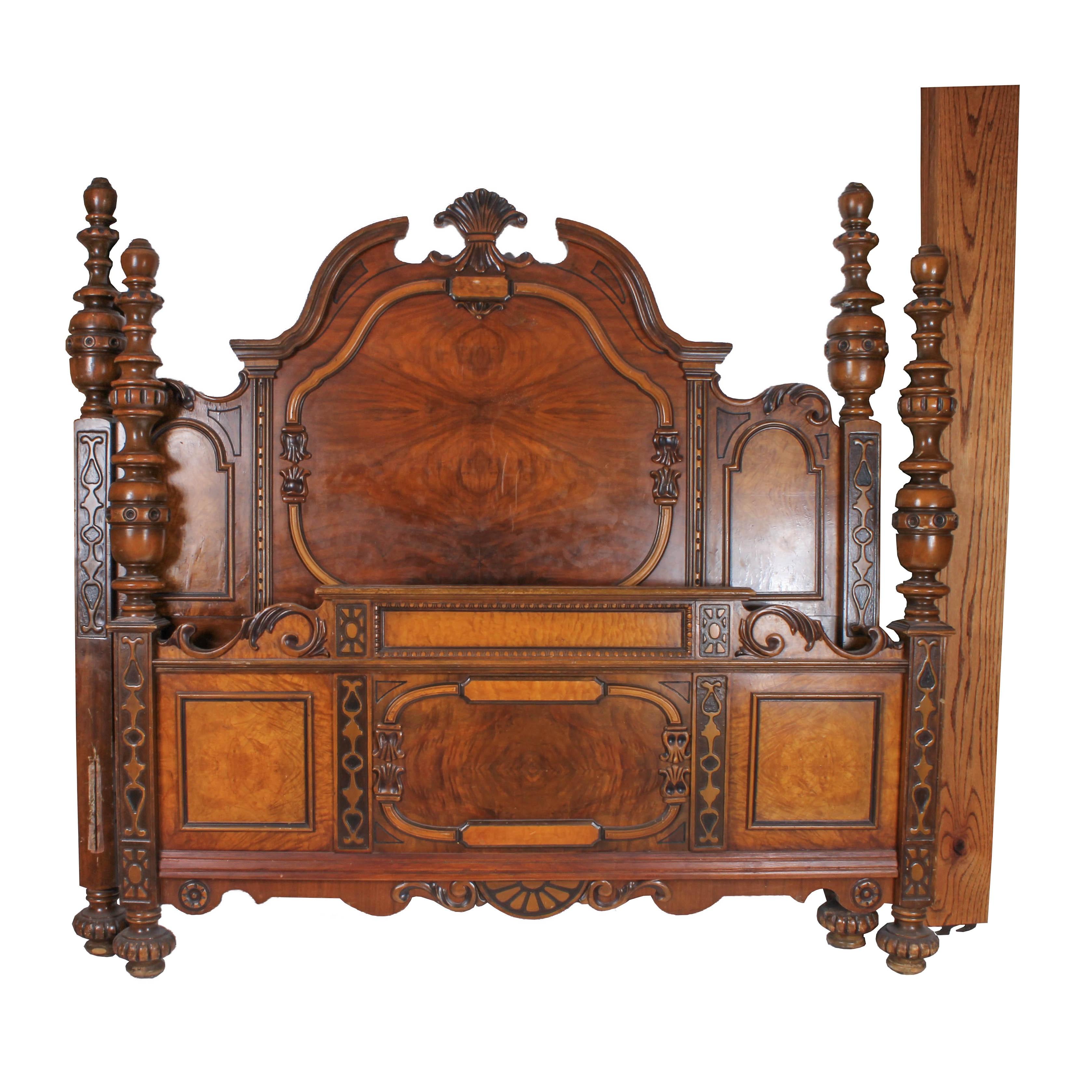 Antique Burl Wood Eastlake Style Bed Frame (Full Size)