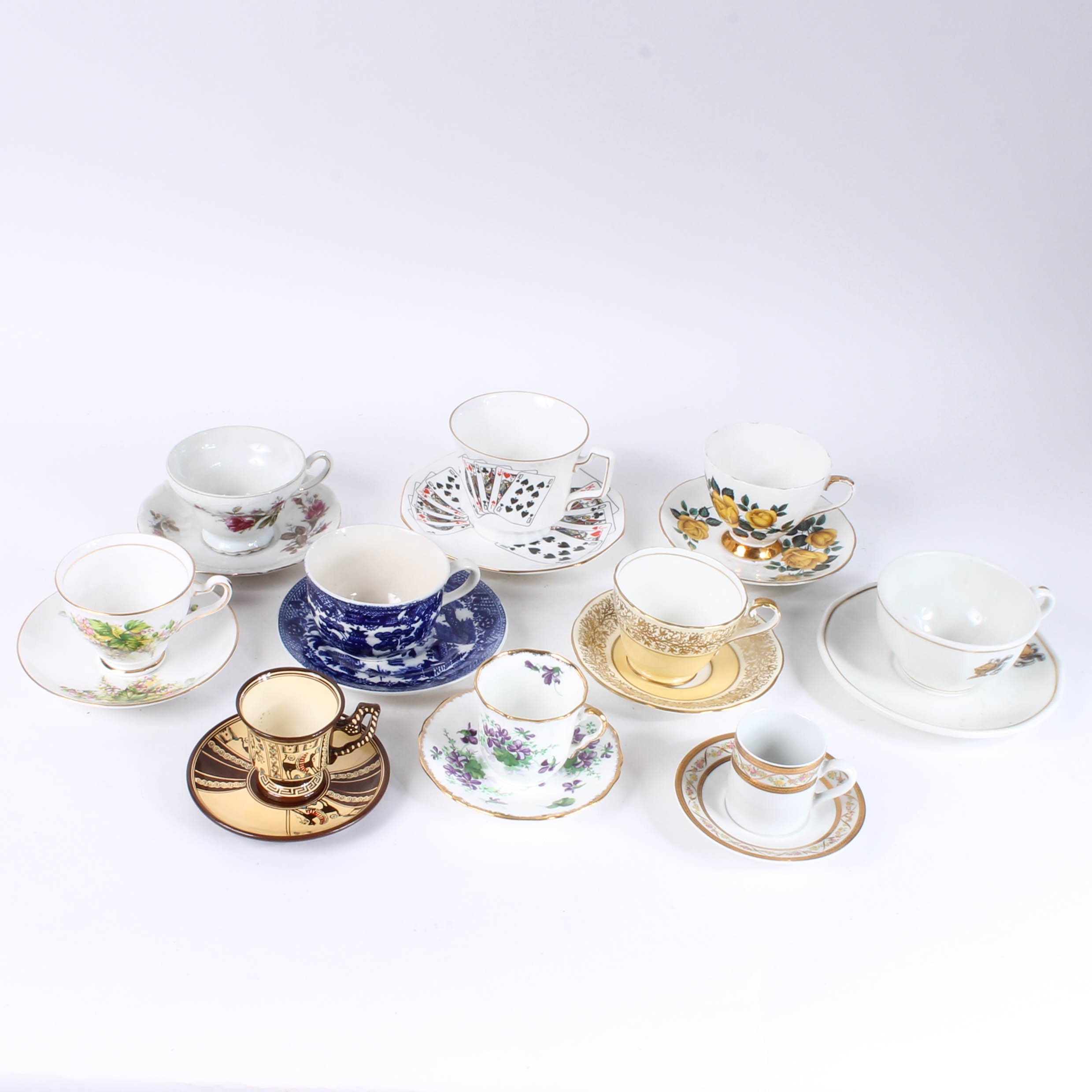 Assortment of Vintage China Cups and Saucers