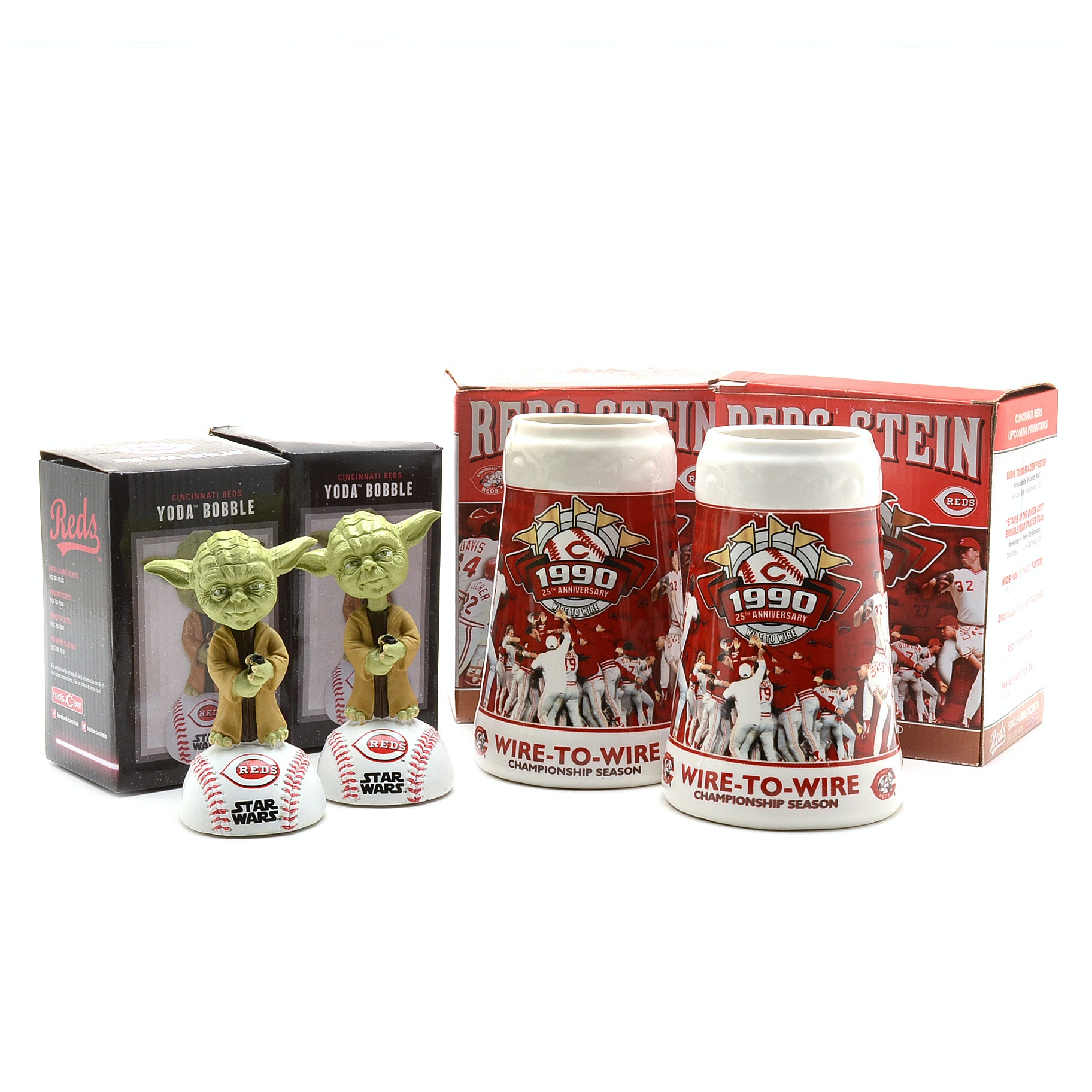 Reds Yoda Bobble Head Dolls and 1990 Steins
