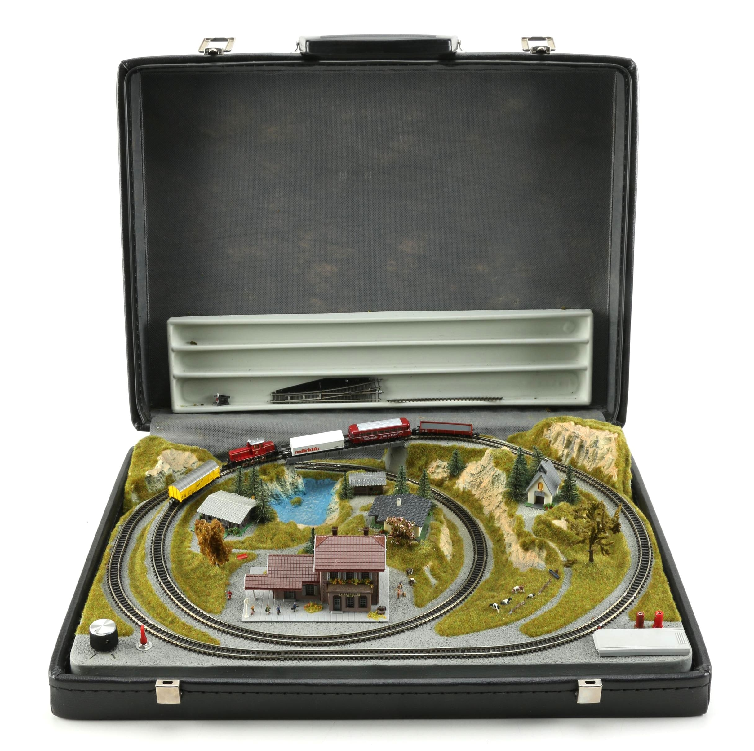 Motorized Miniature Train Set in Leather Attaché Case
