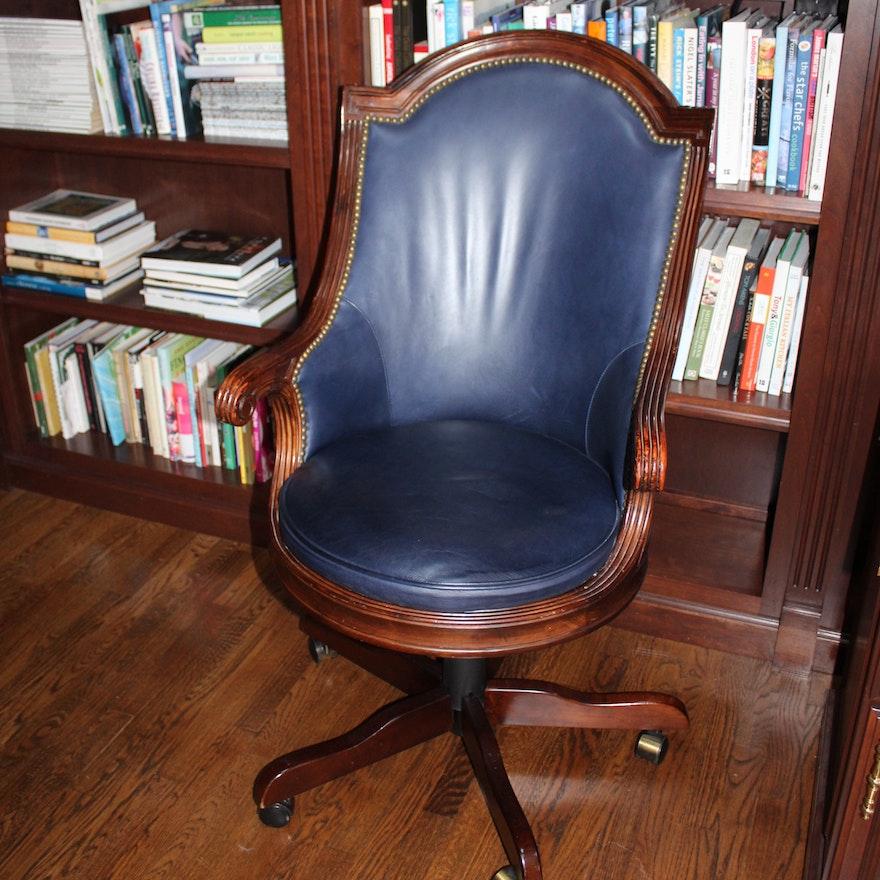 Blue Leather Executive Desk Chair