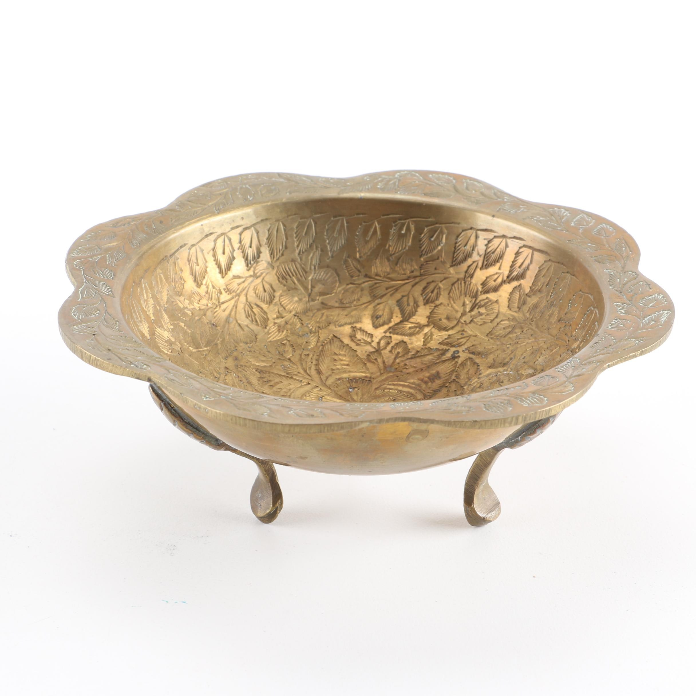 Indian Brass Footed Dish