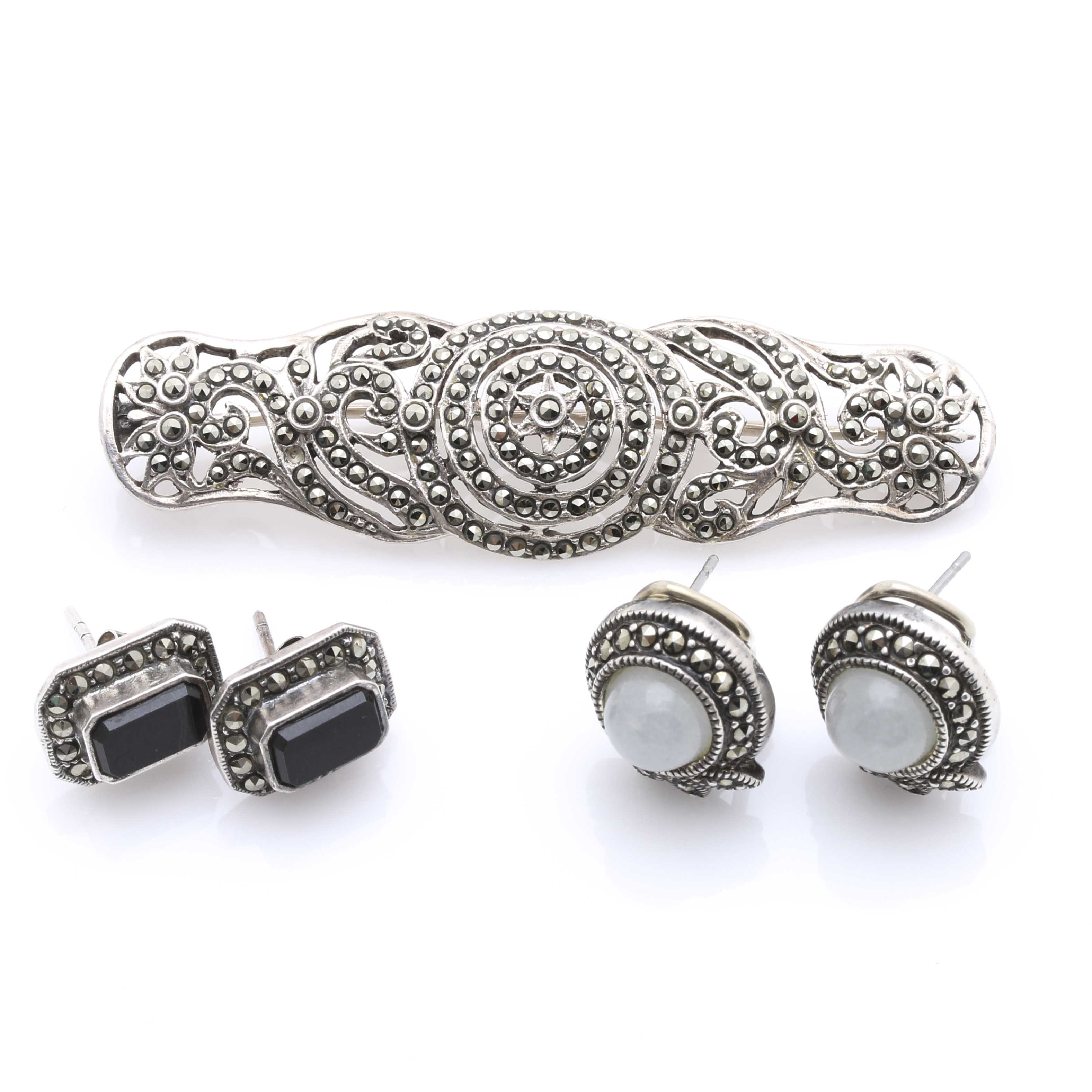 Sterling Silver Marcasite, Black Onyx, and Quartz Jewelry