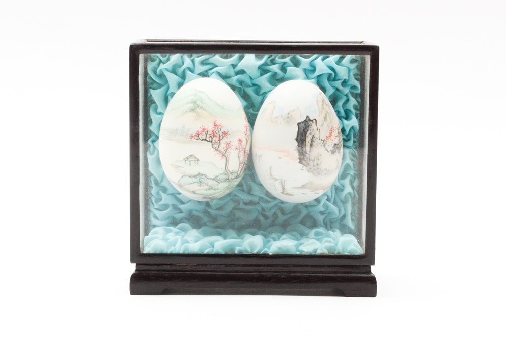 Chinese Hand Painted Eggs Depicting Landscapes in Glass Case