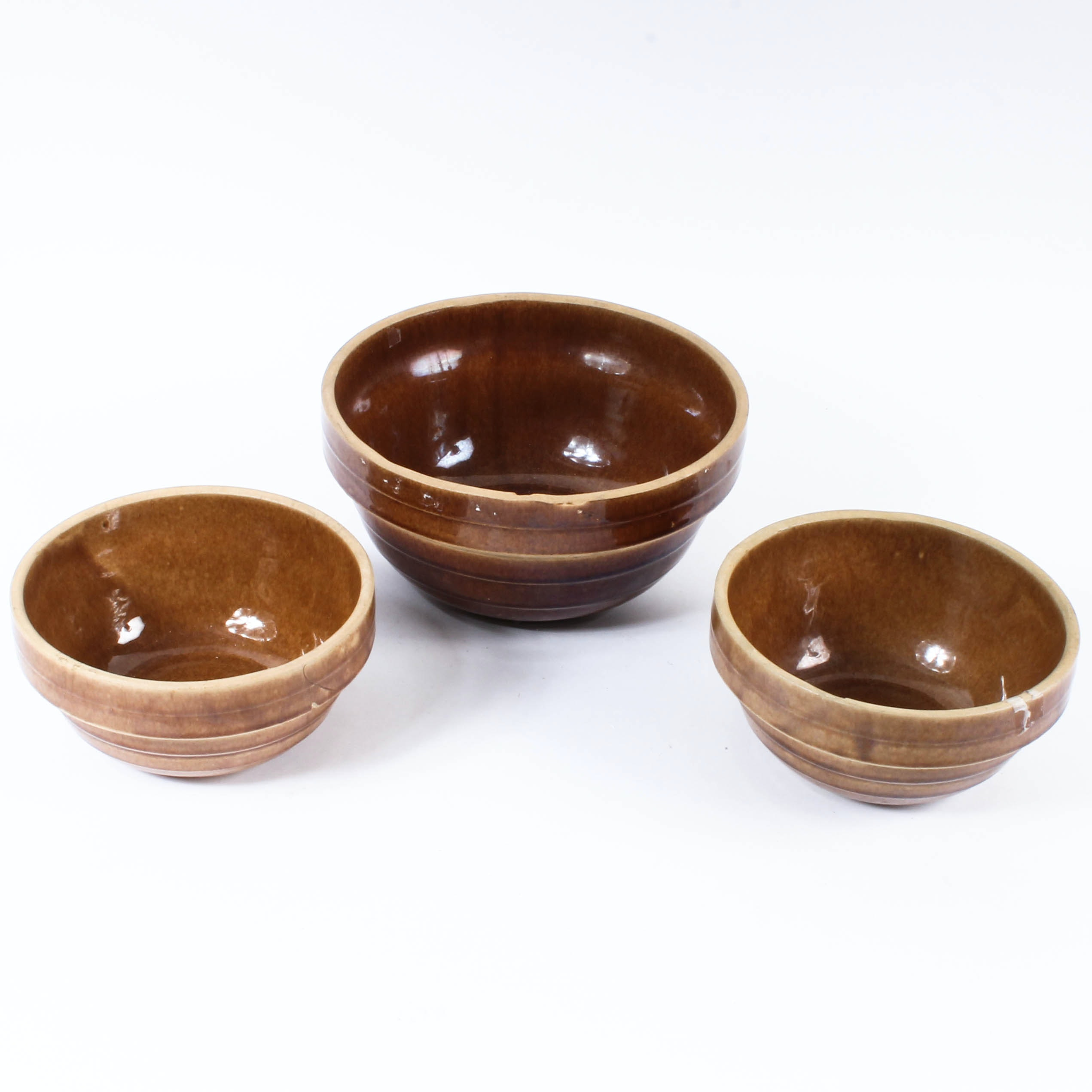Mottled Brown Glazed Ceramic Mixing Bowls