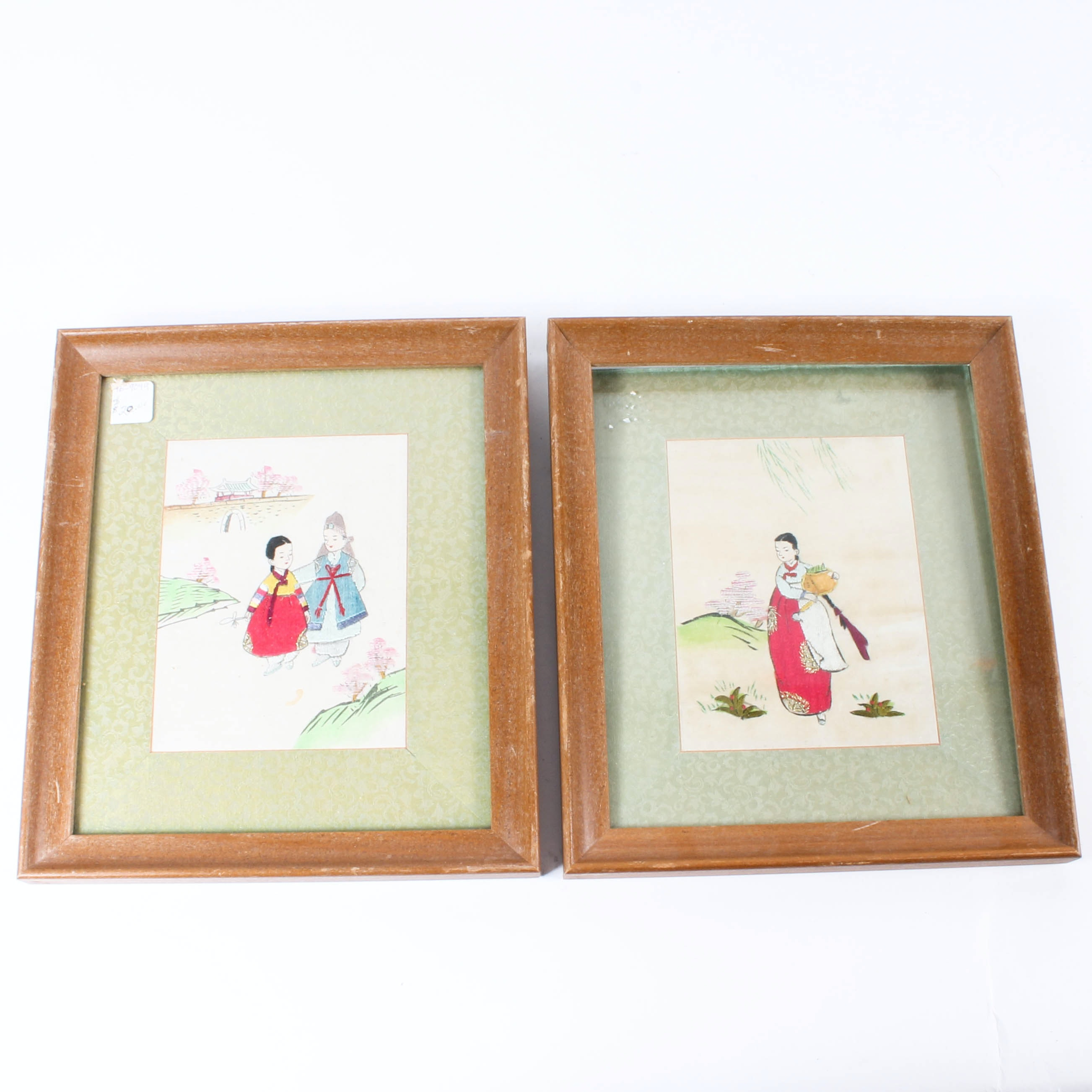Pair of Framed Korean Embroideries