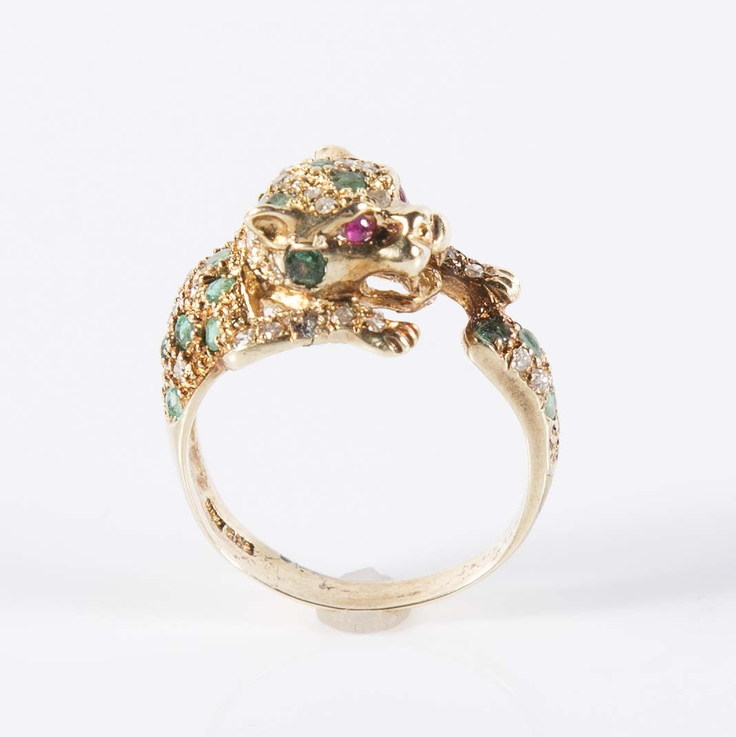14K Yellow Gold Emerald, Ruby and Diamond Panther Ring