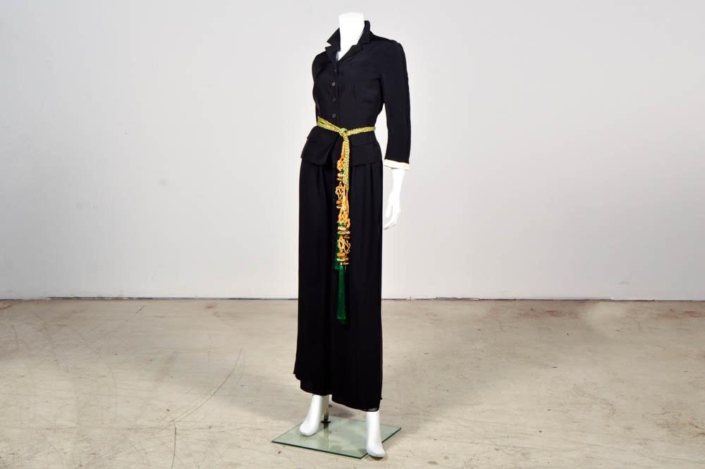 Prada Black Jacket, Pam McMahon Silk Chiffon Pants with Belt