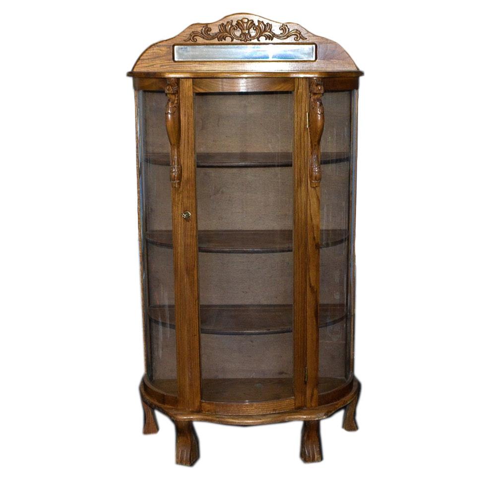 Vintage Oak Demilune Display Cabinet
