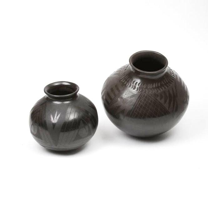 Pair of Black Mata Ortiz Pottery Vessels