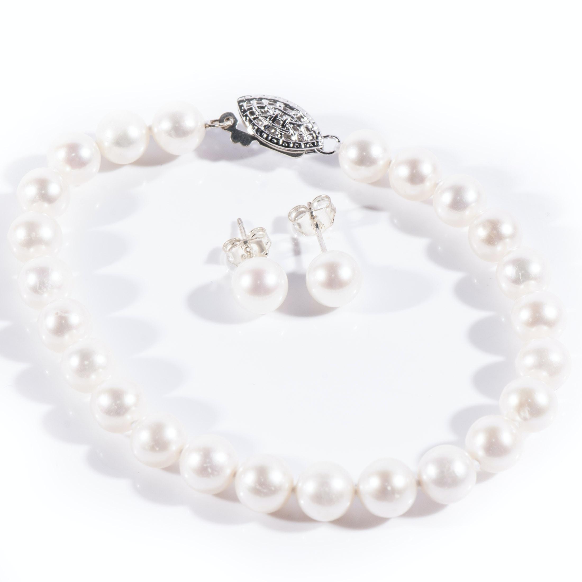 Cultured Pearl Bracelet and Pearl Stud Earrings