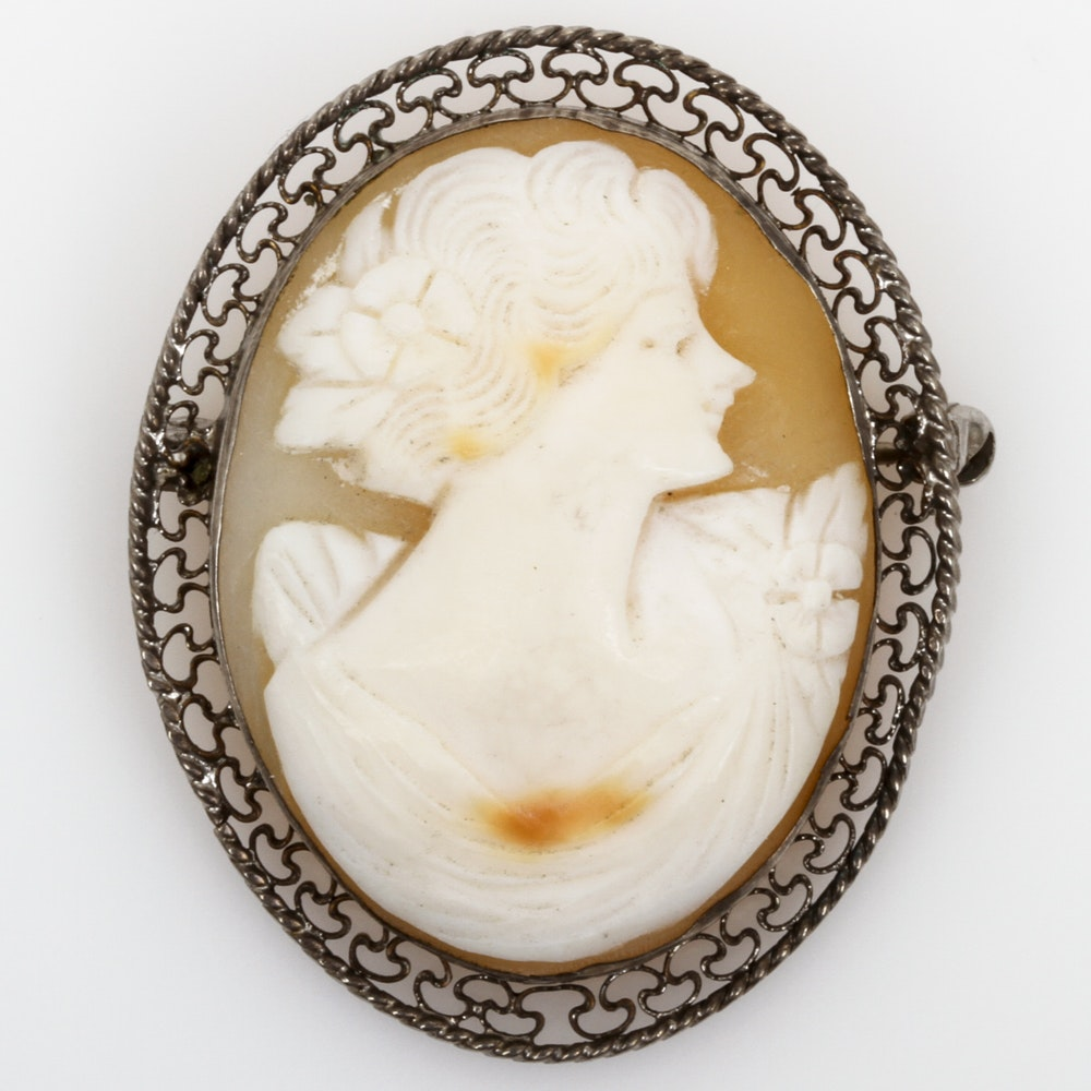 Antique Sterling Silver and Carved Shell Cameo Brooch