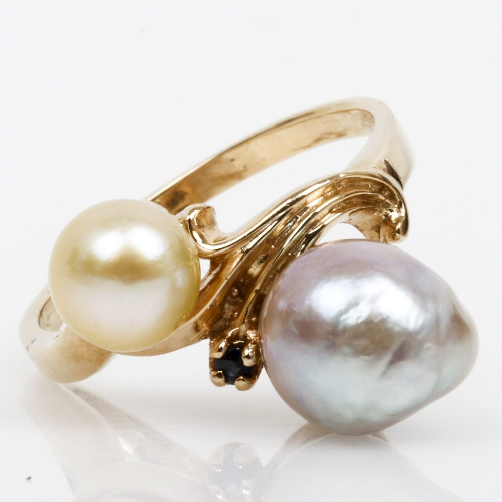 14K Yellow Gold, Cultured Pearl, and Sapphire Cocktail Ring