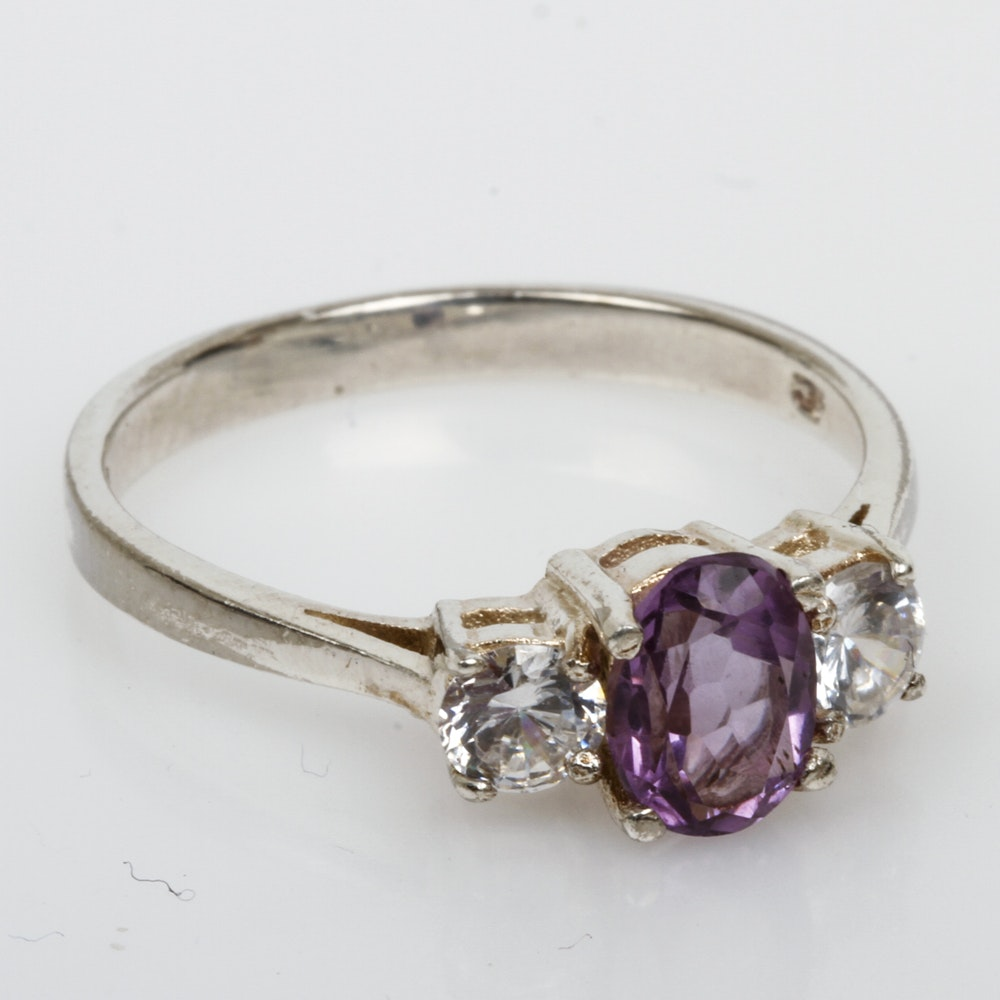Sterling Silver, Amethyst, and Cubic Zirconia Three Stone Ring