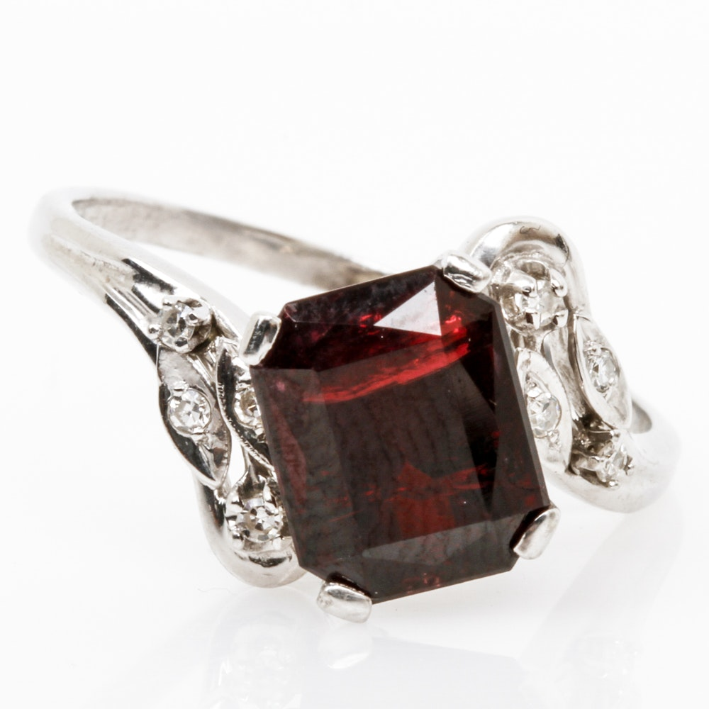 14K White Gold, 4.29 CTS Garnet, and Diamond Bypass Ring