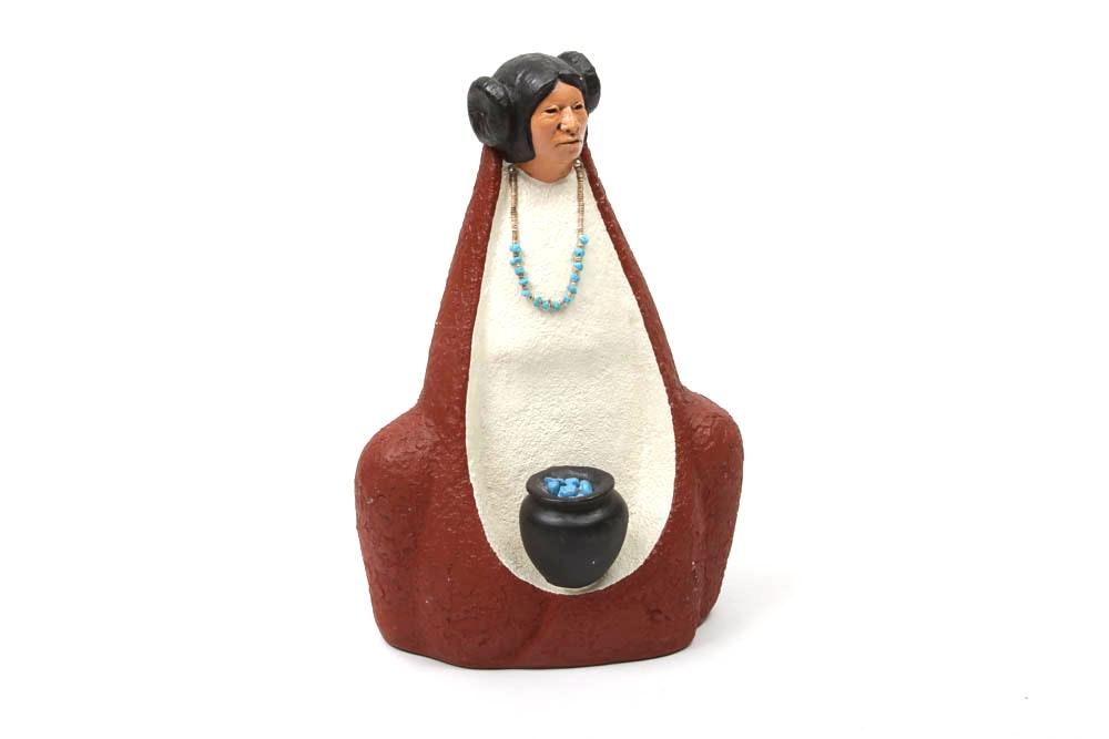 Native American Zuni Ceramic Woman With Black Pot