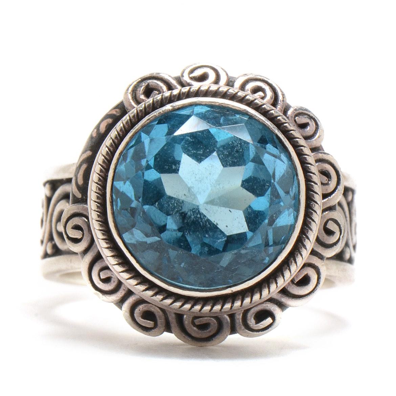Suarti Bali Sterling Silver Blue Topaz Statement Ring