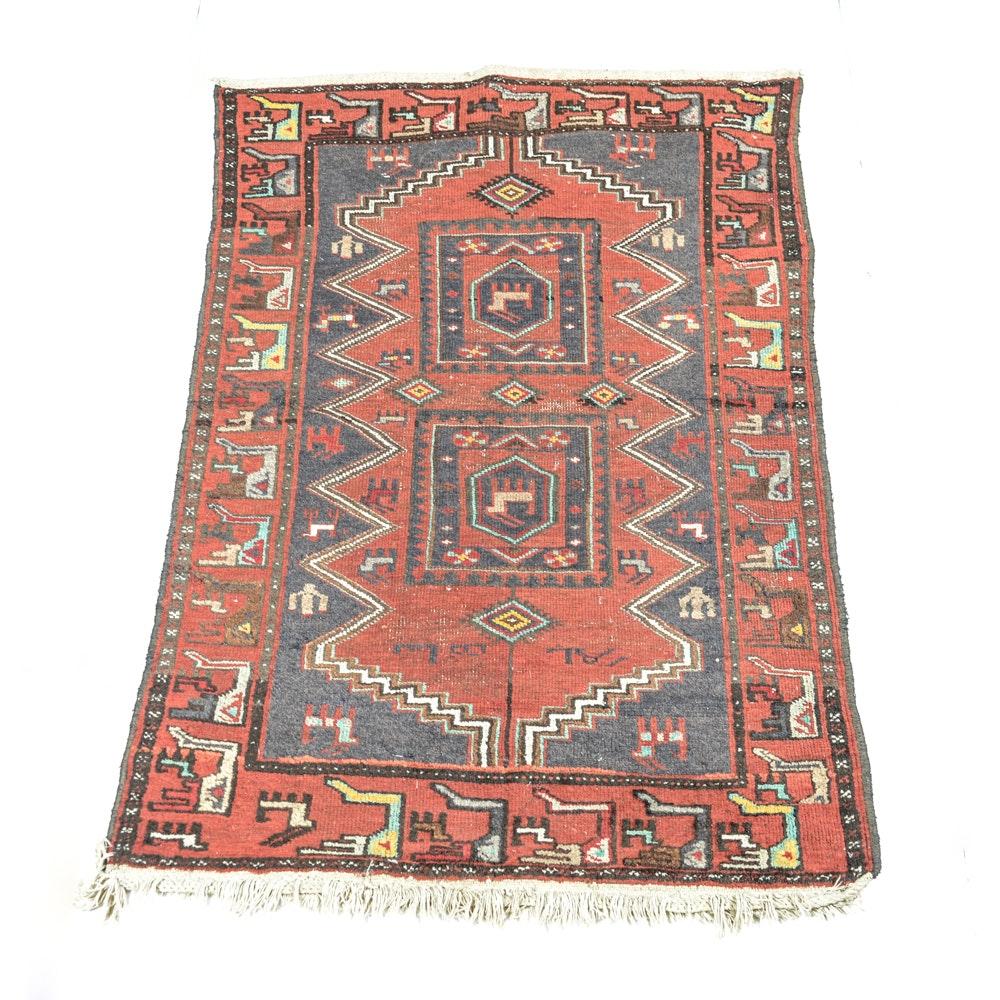 "Semi-Antique Handwoven 3'6"" x 5'1"" Persian Pictorial Rug"