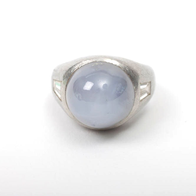 Men's Platinum Ring With Six Ray Star Sapphire Stone